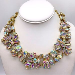 J. Crew Crystal Aurora Borealis Collar Necklace